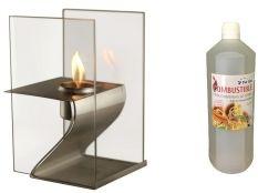 Chimenea bioetanol decorativa Hera y botella de bioetanol aroma canela 1 l