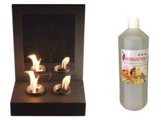 Chimenea bioetanol decorativa Mimic y Botella de Bioetanol aroma Canela 1 l