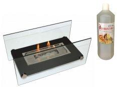 Chimenea bioetanol decorativa Oniros y botella de Bioetanol aroma Canela 1 l