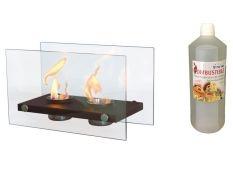 Chimenea bioetanol decorativa Oniros Duo y Botella de Bioetanol aroma Canela 1 l