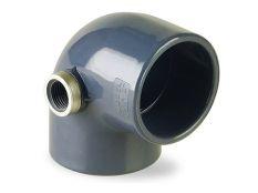 Codo 90º PVC encolar con salida lateral rosca 3/4 para piscinas Hidroten