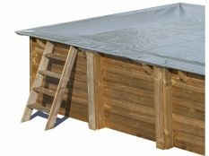 Cubierta de invierno rectangular Gre para piscinas de madera Sunbay