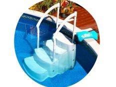 Escalera combo con pasamanos en Abs para piscina