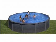 Piscina desmontable circular de acero aspecto grafito Granada Gre profundidad 1,32 m