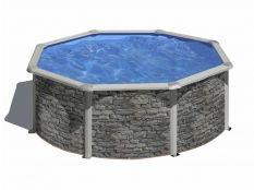 Piscina desmontable circular de acero aspecto piedra Cerdeña Gre profundidad 1,20 m