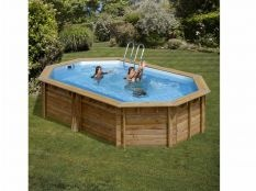 Piscina desmontable madera ovalada Canelle Gre 5,51 x 3,51 x 1,19 m