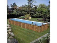 Piscina desmontable madera rectangular Cardamon Gre 12,10 x 4,18 x 1,46 m