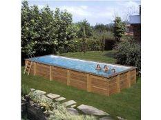 Piscina desmontable madera rectangular Mint Gre 10,10 x 4,18 x 1,46 m