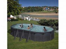 Piscina desmontable ovalada de acero aspecto grafito Granada Gre
