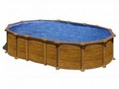 Piscina desmontable ovalada de acero aspecto madera Amazonia Gre profundidad 1,32 cm