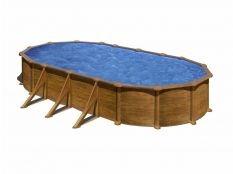 Piscina desmontable ovalada de acero aspecto madera Mauritius Gre profundidad 1,32 m