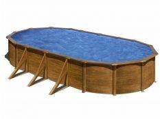 Piscina desmontable ovalada de acero aspecto madera Pacific Gre profundidad 1,20 m