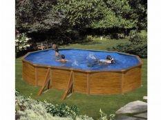 Piscina desmontable ovalada de acero aspecto madera Sicilia Gre 5 x 3 x 1,20 m