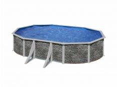 Piscina desmontable ovalada de acero aspecto piedra Cerdeña Gre profundidad 1,20 m