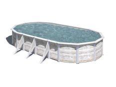 Piscina desmontable ovalada de acero imitación madera blanca Finlandia Gre profundidad 1,20 m