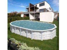 Piscina desmontable ovalada de acero imitación madera blanca Islandia Gre profundidad 1,32 m