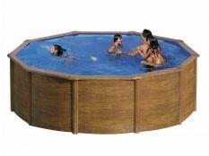 Piscina desmontable redonda de acero aspecto madera Pacific Gre profundidad 1,20 m