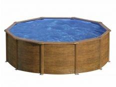Piscina desmontable redonda de acero aspecto madera Sicilia Gre profundidad 1,20 m