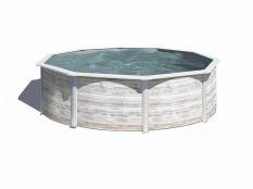 Piscina desmontable redonda de acero imitación madera blanca Finlandia Gre profundidad 1,20 m
