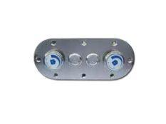 Placa de mandos en acero inoxidable para 2 pulsadores piezoeléctricos y 2 reguladores de aire de piscinas Fitstar