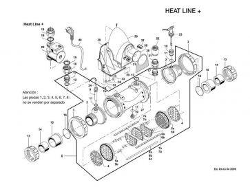 Conjunto racor de 1/2 con unión ø 63 mas reducción ø 50 y junta Heat Line Plus
