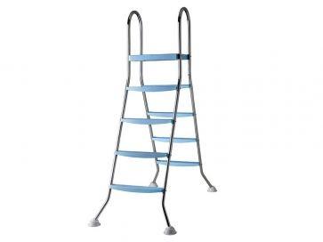 Escalera piscina elevada Gre tipo tijera 142 cm 4x2 peldaños con plataforma en acero inoxidable