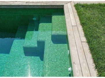 Gresite para piscinas verde y blanco niebla 35 x 35 mm